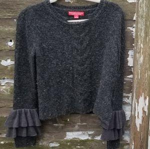 Krimson Klover Gray Sweater Ruffle Sleeves